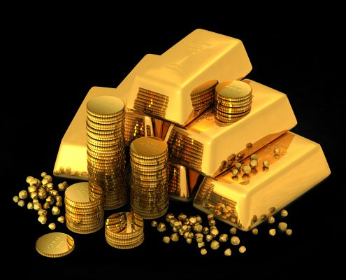 3d gold bars and coins on black