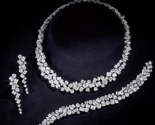 White Diamond Multi-Shape Necklace, Bracelet and Earrings